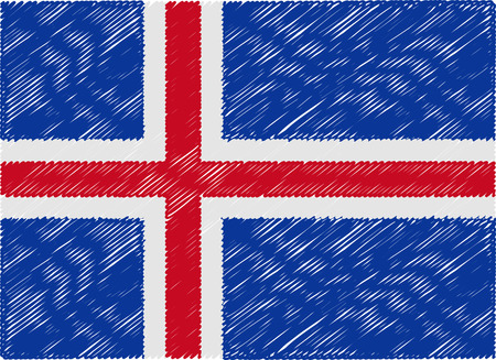 iceland flag: iceland flag embroidered zigzag Illustration