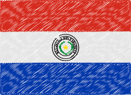 bandera de paraguay: Paraguay bandera bordada en zigzag Vectores