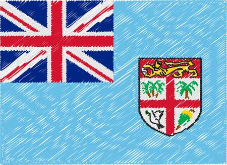 fiji: fiji flag embroidered zigzag
