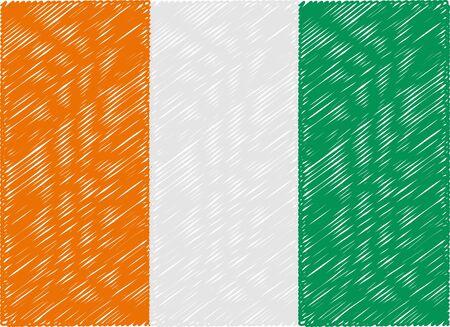 coast: ivory coast flag embroidered zigzag Illustration