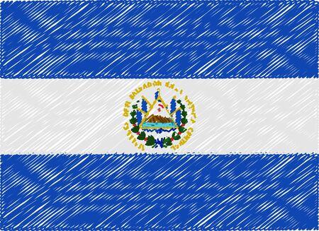 bandera de el salvador: El Salvador bandera bordada en zigzag
