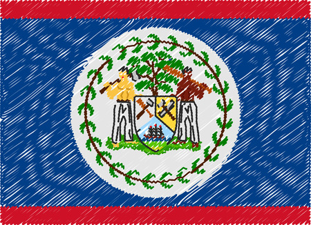belize: belize flag embroidered zigzag