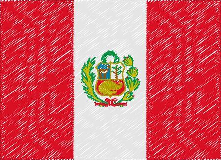 bandera de peru: Per� bandera bordada en zigzag Vectores