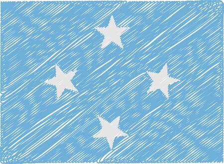 micronesia: micronesia flag embroidered zigzag