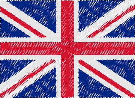 kingdom: united kingdom flag embroidered zigzag Illustration