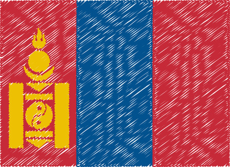 mongolia: mongolia flag embroidered zigzag Vectores