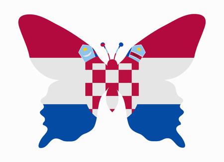 bandera croacia: croacia bandera de la mariposa Vectores