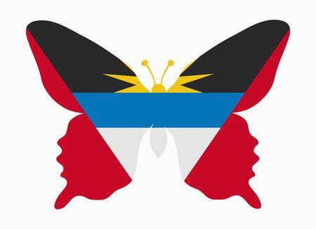 antigua flag: antigua flag butterfly Illustration