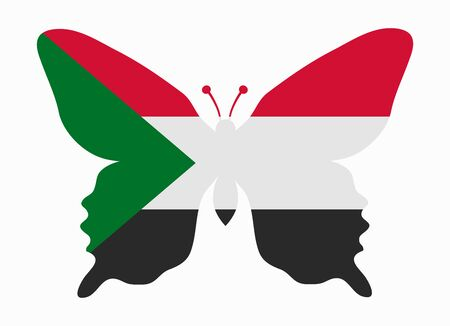 sudan: sudan flag butterfly Illustration