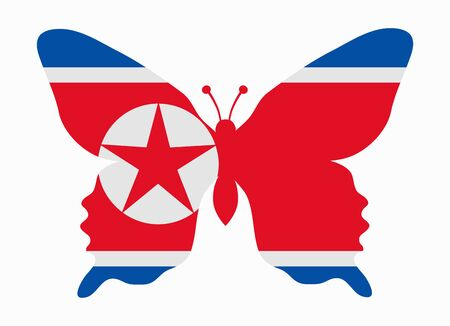 north korea: north korea flag butterfly