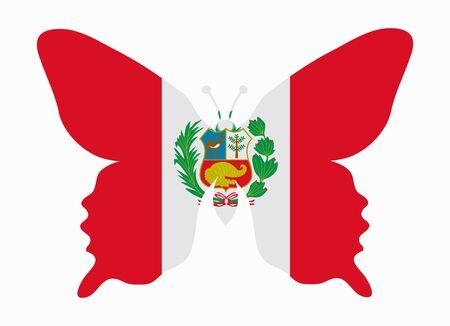 bandera de peru: Perú bandera de la mariposa Vectores