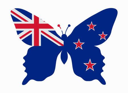 bandera de nueva zelanda: nueva zelanda bandera de la mariposa Vectores
