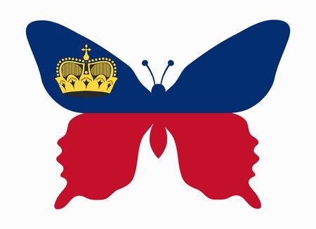 liechtenstein: liechtenstein flag butterfly Illustration