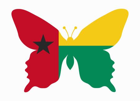guinea bissau: guinea bissau flag butterfly