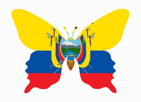 ecuador: vlag van Ecuador vlinder
