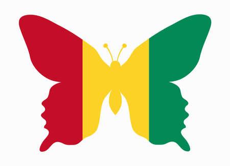 guinea: guinea flag butterfly Illustration