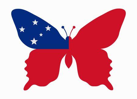 samoa: samoa flag butterfly
