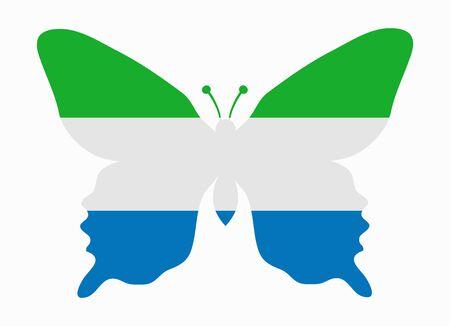sierra: sierra leone flag butterfly Illustration