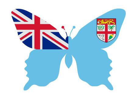 fiji: fiji flag butterfly Stock Illustratie