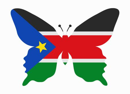 south sudan: south sudan flag butterfly