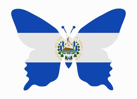 bandera de el salvador: El Salvador bandera de la mariposa Vectores
