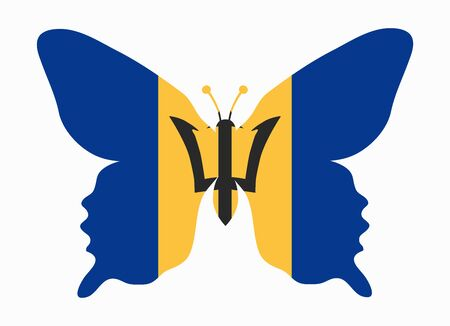 barbados: barbados flag butterfly Illustration