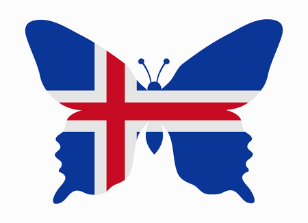 flag of iceland: iceland flag butterfly