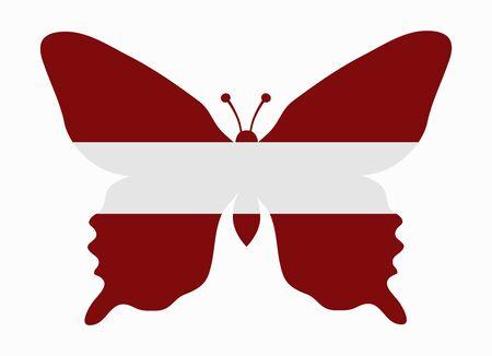 latvia flag: latvia flag butterfly Illustration