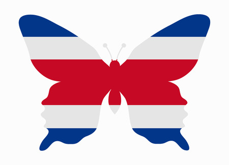 bandera de costa rica: Costa Rica bandera de la mariposa Vectores