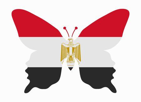 bandera egipto: egipto bandera de la mariposa Vectores