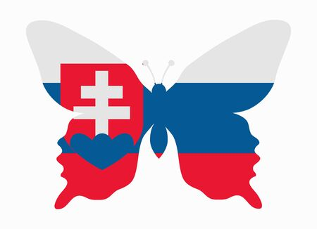 slovakia flag: slovakia flag butterfly Illustration