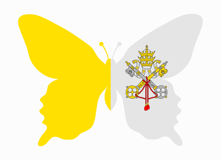 vatican city: vatican city flag butterfly