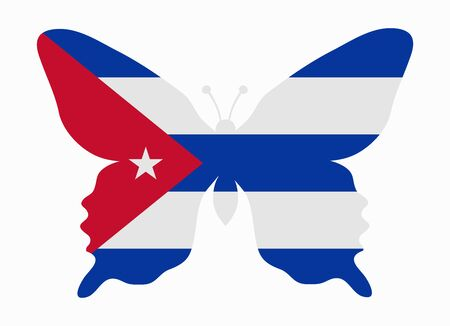 kuba flagge: cuba flag butterfly Illustration