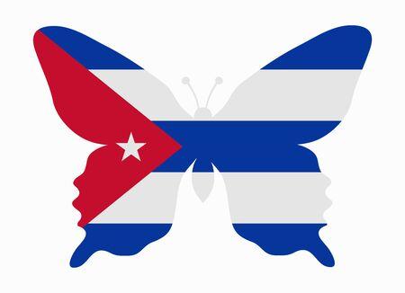 cuba flag butterfly Illustration