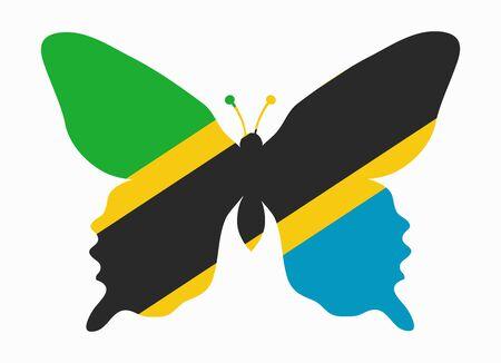 tanzania: tanzania flag butterfly Illustration