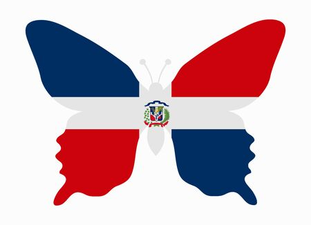 dominican: dominican rep flag butterfly Illustration