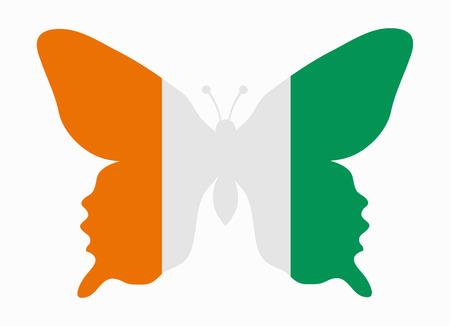 coast: ivory coast flag butterfly Illustration