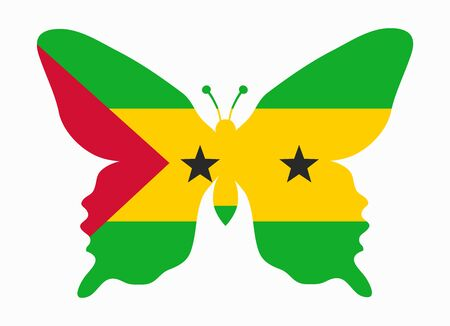 tome: sao tome flag butterfly Illustration