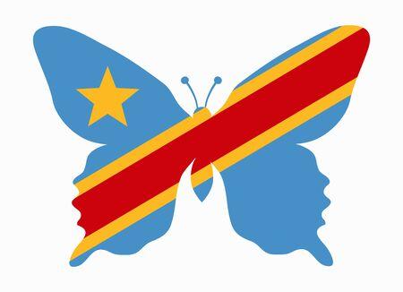 Congo: congo flag butterfly