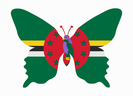 dominica: dominica flag butterfly Illustration