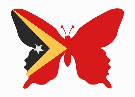 oosten timor vlag vlinder Stock Illustratie