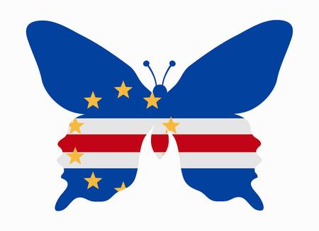 cape verde flag: cape verde flag butterfly Illustration
