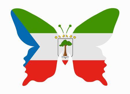 equatorial guinea: equatorial guinea flag butterfly Illustration