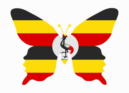 oeganda vlag vlinder Vector Illustratie
