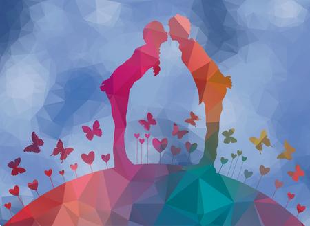 laag poly achtergrond eerste kus