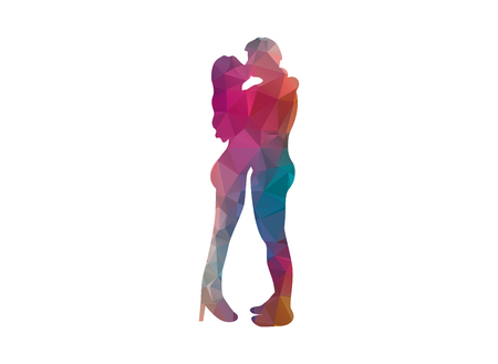 lovers kissing: low poly couple kissing Illustration
