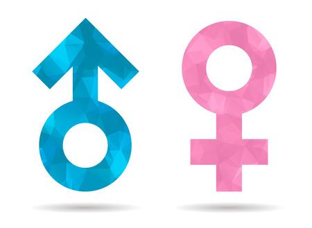낮은 폴리 남자와 여자의 상징