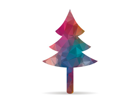 art contemporary: low poly tree colorful icon
