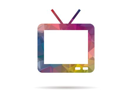 television icon: low poly colorful television icon
