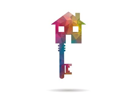 house key: low poly house key icon